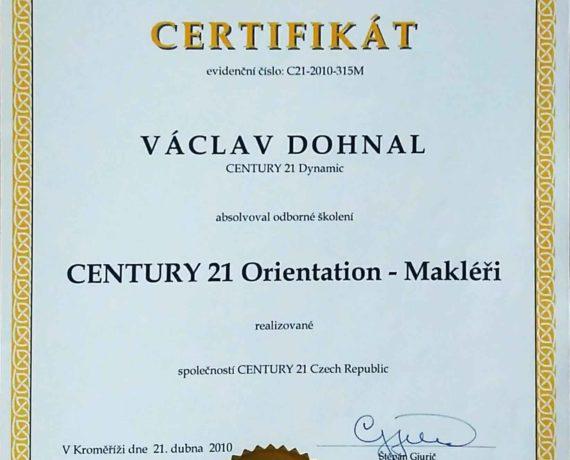 Certifikát Century 21 Orientation - Makléři