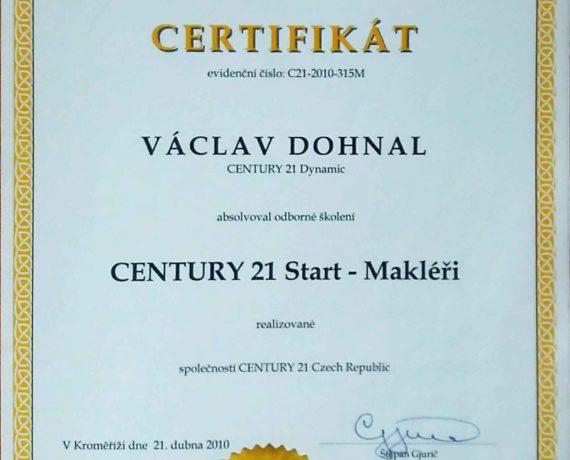 Certifikát Century 21 Start - Makléři