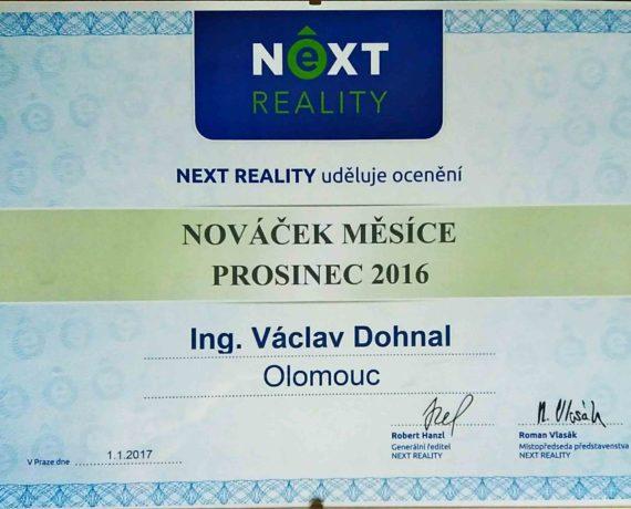 Ocenění společností NEXT REALITY za dobře vykonanou práci v prosinci 2016. Dva měsíce po sobě oceněn jako nováček měsíce. V kategorii nováček protože jsem byl v NEXTU méně jak 6 měsíců